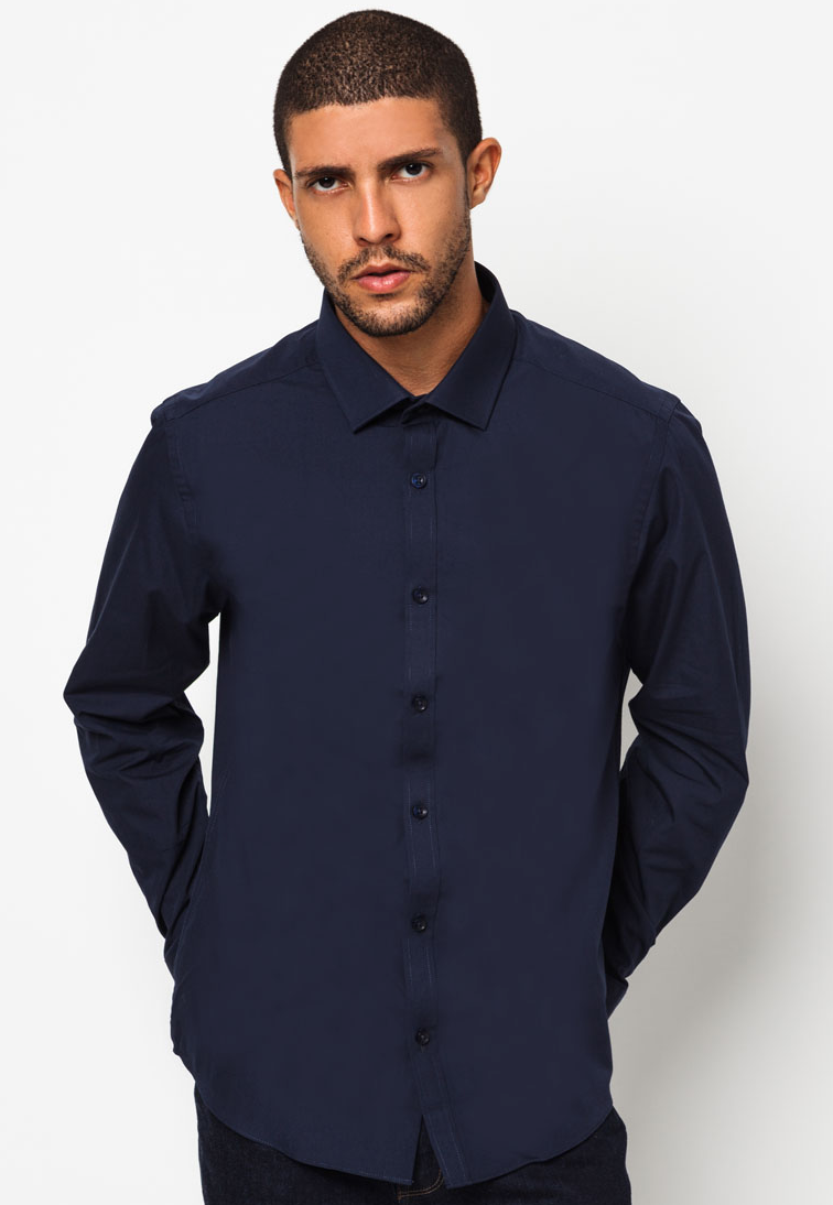 Get 10% Off Navy Poplin Shirts at Zalora.sg